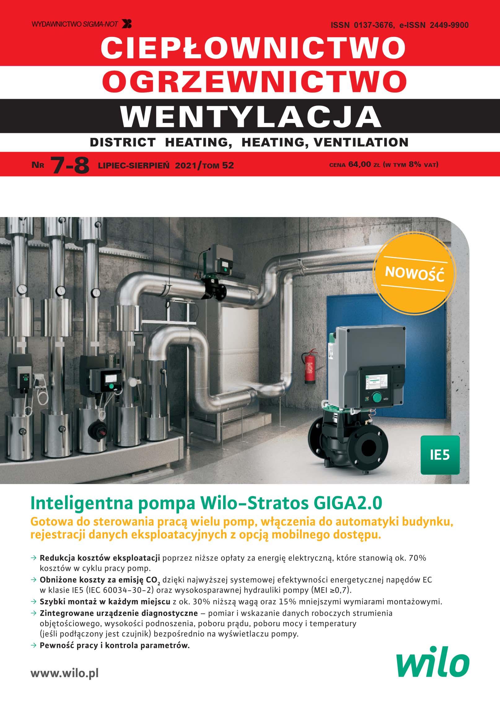 Ciepłownictwo, Ogrzewnictwo, Wentylacja 7-8/2021